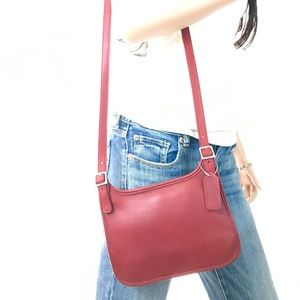 COACH Vintage Red Leather Hippie Crossbody #9142